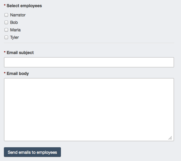 Employee email form